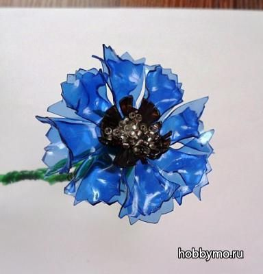 Flowers from plastic bottles.  Cornflowers