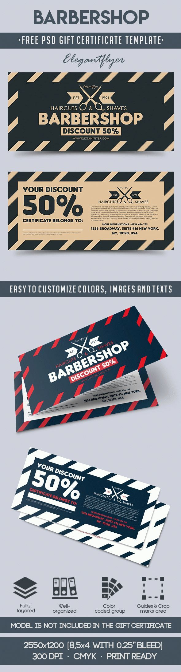 The 66 best free gift certificate templates images on pinterest barbershop free gift certificate psd template yelopaper Gallery