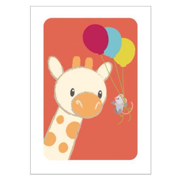 Poster A4 giraffe giraf feest kinderkamer babykamer decoratie