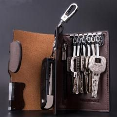 [ 21% OFF ] Genuine Leather Car Key Cases 9 Color Men And Women Car Key Holder Wallets Fashion Housekeeper Holders 6 Key Rings