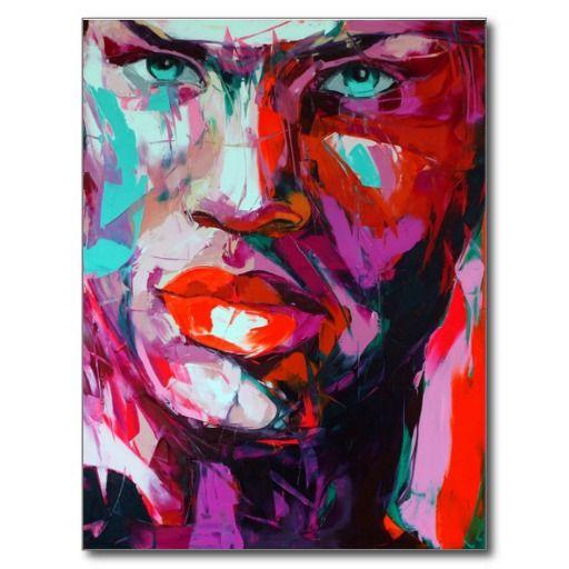 Fine art paint men portrait colorfully postcard