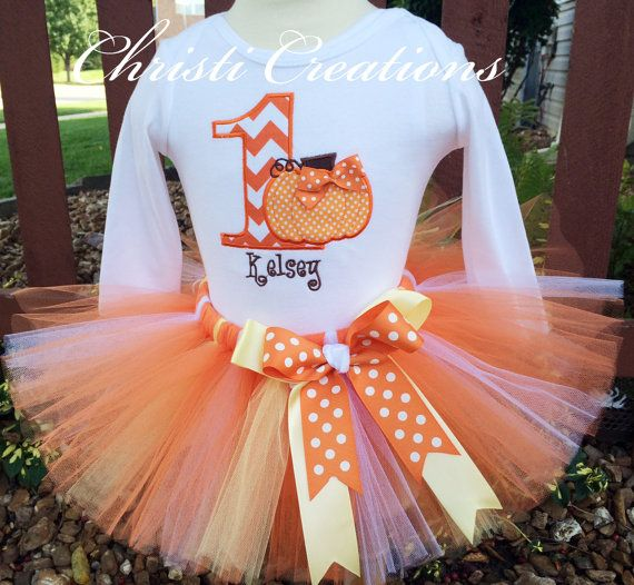 Baby Girl 1st Birthday Pumpkin Tutu Set 1st by ChristiCreations