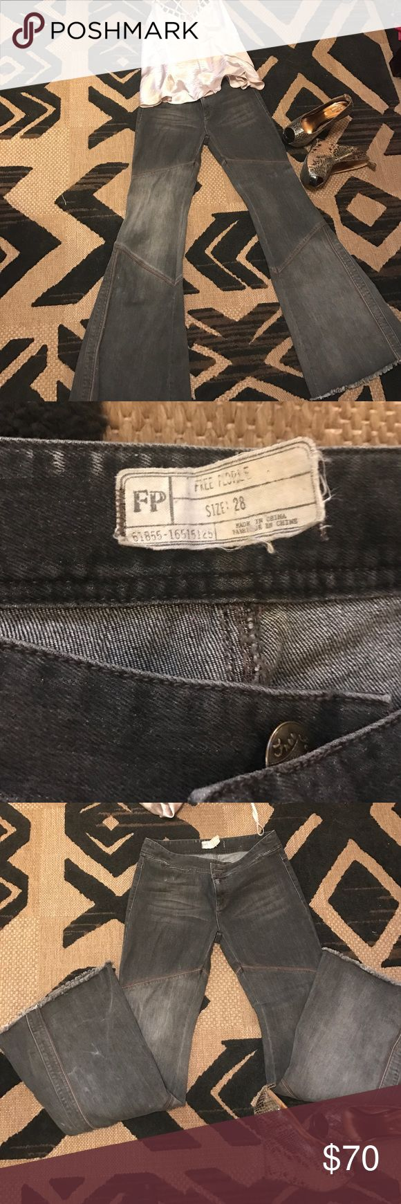 Free People black/Grey w/suede design 28/34 These beauties are a sassy kind of flares with suede tooling in between some of the seams. Truly unique! Free People Jeans Flare & Wide Leg