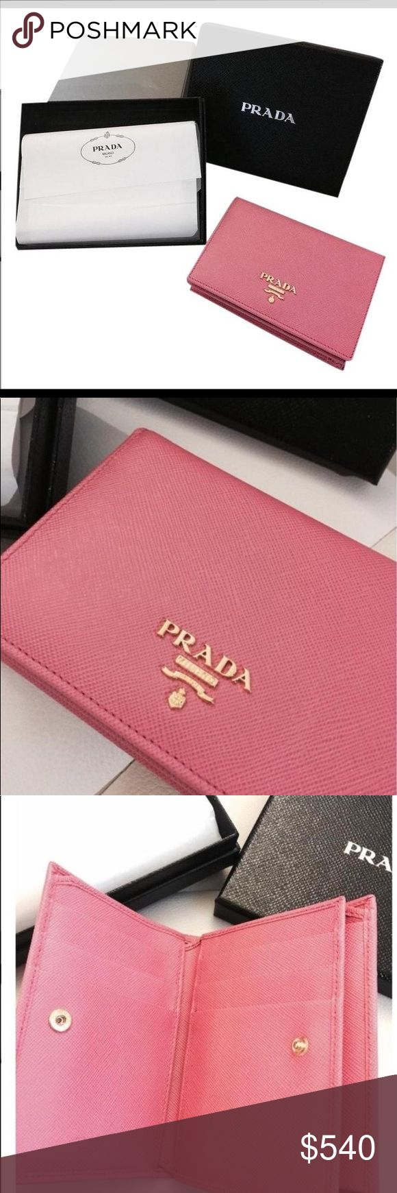 Prada Saffiano Geranio pink wallet New In Box Authentic Prada Wallet - NEW IN BOX  Authenticity Card and Original box PRADA SMALL WALLET Style: 1MV204 Color: Geranio (pink) Features: leather body Front logo plaque Snap button flap closure with Prada engraving  Credit card slots Absolutely new without any use and not available at stores. A very elegant and classy item and the ideal gift. Carefully wrapped, in the original boxes and with authenticity cards.  Retail Price: US$700,00 Color may…