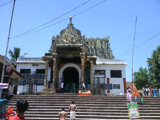Shri Padmanabhaswamy Temple in Thiruvananthapuram, Kerala.  Front view .  Men are supposed to take off their shirts before entering. Nobody is allowed to wear pants to the temple.