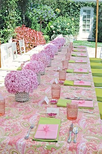 hydrangea center piece garden table - in blue and white?