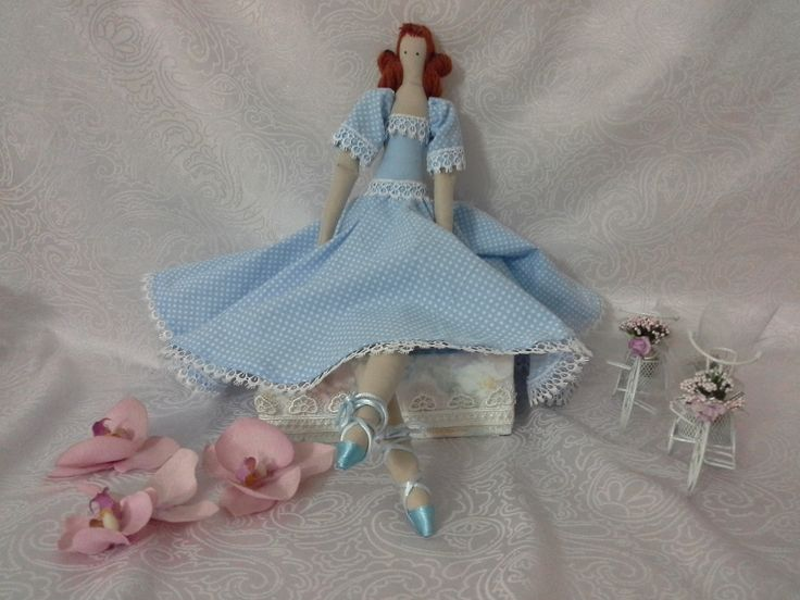 Blue Dressed Tilda Doll - 49 cm