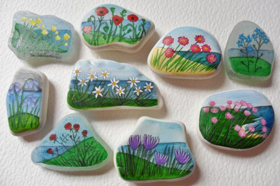 Blumen von der Meer-Miniatur Malerei Kunst Kühlschrankmagnete - Meer-Glas und Strand-Keramik