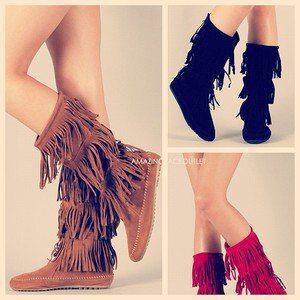 Fringe Boots Indian Cherokee 3 Tier Layer Faux Suede Brown Black Flat Moccasin