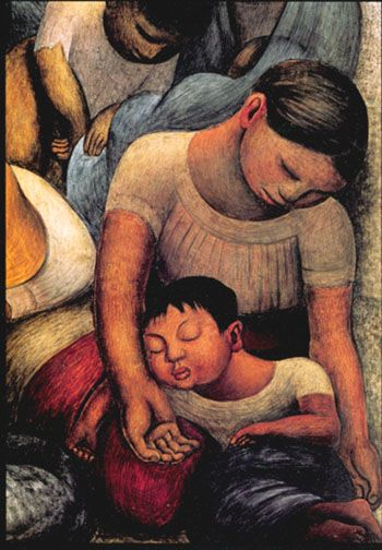 """Mother and Child Sleeping"" by Diego Rivera (Dec 8, 1886 – Nov 24, 1957) Prominent Mexican painter & husband of Frida Kahlo. http://www.reproduction-gallery.com/oil_painting/details/copy_artist/1147919941/masterpiece/Diego_Rivera/museum_quality/Mother_and_child_Sleeping.xhtml"