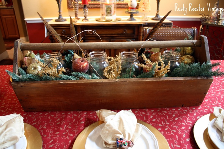 Old Wooden Tool Box Recycled In To A Christmas Centerpiece
