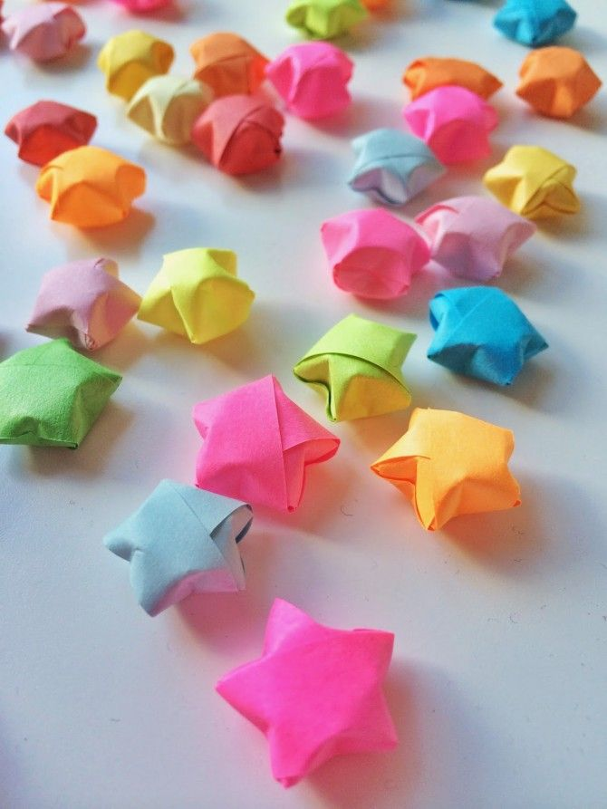 Origami Lucky Stars » Fun Crafts Kids --- I have a bunch of these in my closet but I'd love to make more!