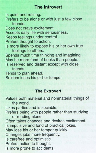 Introverted male dating extrovert female