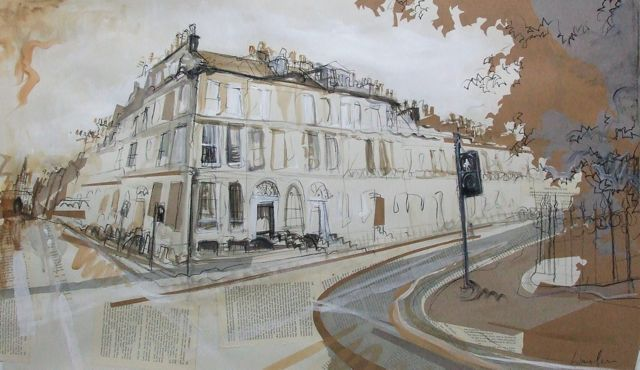 Heriot Row, New Town Collage with Acrylic and Charcoal 2014 114cm x 75cm Number 17 is the former home of Robert Louis Stevenson. I'm still on a roll with the literary Edinburgh theme. SOLD - at the...
