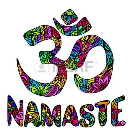 mandala inde: symbole ornement Om et namaste multicolore. Modèle. éléments vectoriels décoratifs Vintage isolés. Hand drawn mehendi Indien. symbole hindou. Tatouage, yoga, spiritualité, textiles, l'impression T-shirt