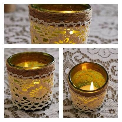 Green lace candle