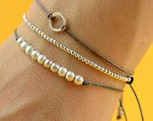 Beaded  bracelet . Sterling silver. $19.50, via Etsy.