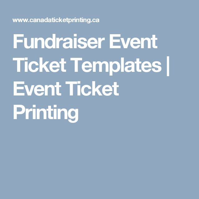 Fundraiser Event Ticket Templates | Event Ticket Printing