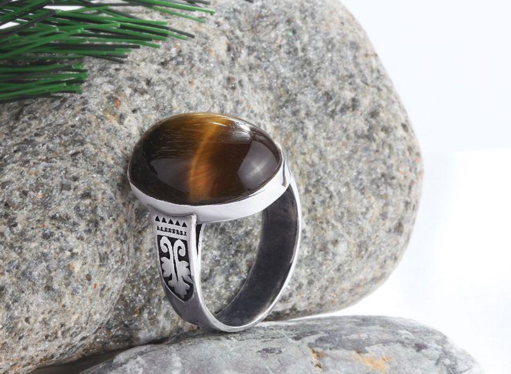 Sterling Silver Men's Ring with Natural Brown Tiger's Eye Gemstone #musthavejewelry #handmademensring #mensvintagering #mensgemstonering #mensonyxring #mensturquoisering #mensagatering #mensaccessories #menssilverring #mensjewelryshop #jewelsformen #mensjewelryfashion