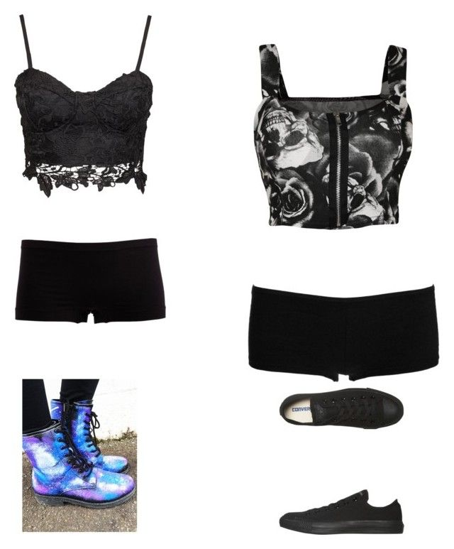 """""""Which WWE outfit is better?"""" by fluffypunkk ❤ liked on Polyvore featuring WearAll, Pieces, People Tree and Converse"""