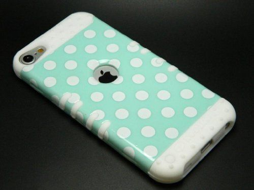 CellPhone Trendz Hybrid 2 in 1 Case Hard Cover Faceplate Skin White Silicone and White Big Polka Dots Mint Green Snap Protector for Apple iPod iTouch 5 (5th Generation) by Cellphone Trendz, http://www.amazon.com/dp/B00BWDAQP8/ref=cm_sw_r_pi_dp_ZTzDsb0JH5ZJ5