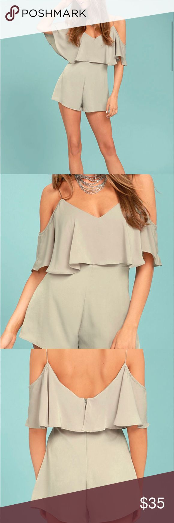 Off-The-Shoulder Trendy Romper Everyday will feel like a party with the Daily Soiree Taupe Off-the-Shoulder Romper! Satiny woven poly falls from skinny straps into a fluttering flounce and short, off-the-shoulder sleeves atop a darted bodice. High, fitted waist tops tailored shorts. Hidden back zipper. Lined. 100% Polyester. Hand Wash Cold. Made with Love in the U.S.A. Lulu's Pants Jumpsuits & Rompers