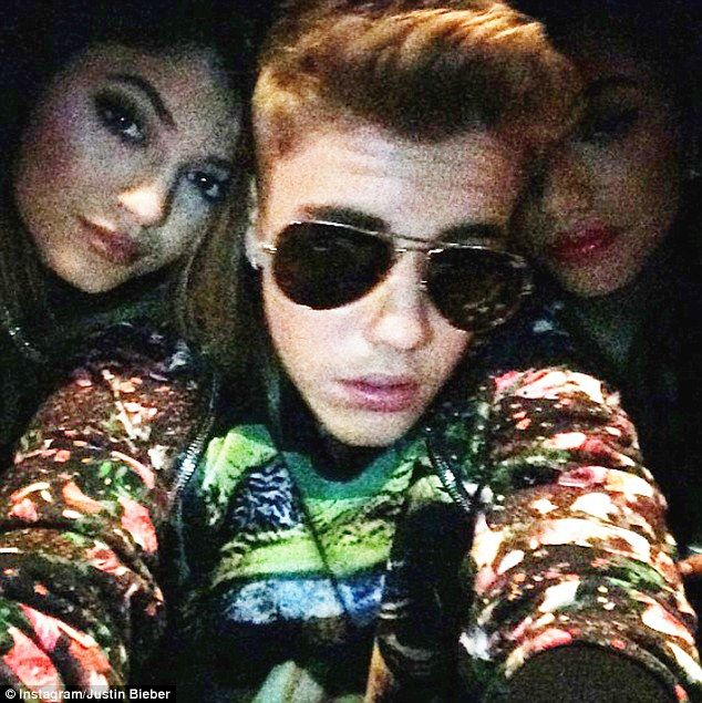 Instagram buddies: Justin Bieber posted a snapshot of himself and Kylie Jenner at the Floyd Mayweather fight in Las Vegas earlier this month