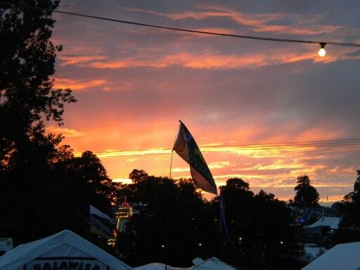 Sunset at Beautiful Days Festival in Devon