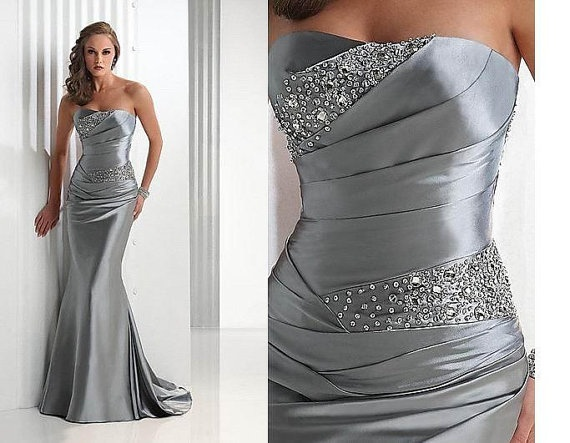 Silver Sequinedevening ball dress now with by SheerCouture on Etsy, $849.00