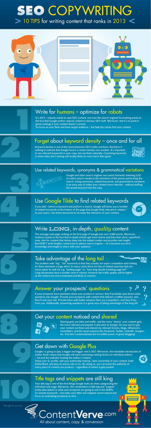 SEO Copywriting - 10 Tips for writing content that ranks in 2013 #seo #copywriting #ranking #keywords