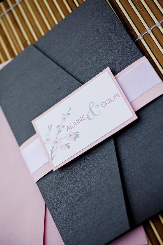 buff pink and charcoal cherry blossom pocket wedding invitation