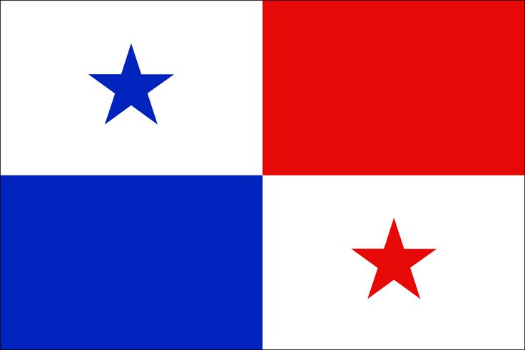 The Panamá Flag was adopted on December 20, 1903. It is sectioned into 4 quarters. The top left section is white with a five-point blue star in the middle, the top right section is red, the bottom left section is blue and the bottom right is white with a five-point red star in the middle.  The colors represent the two political parties. Red, Liberals and the Blue Conservatives. The White symbolizes peace between the two parties.