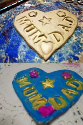 Heart plaque made from clay. The small wooden letters have been pressed in to the clay before hardening. Once it has dried I have then used gold paint for the letters and pink acrylics for the heart and flowers.