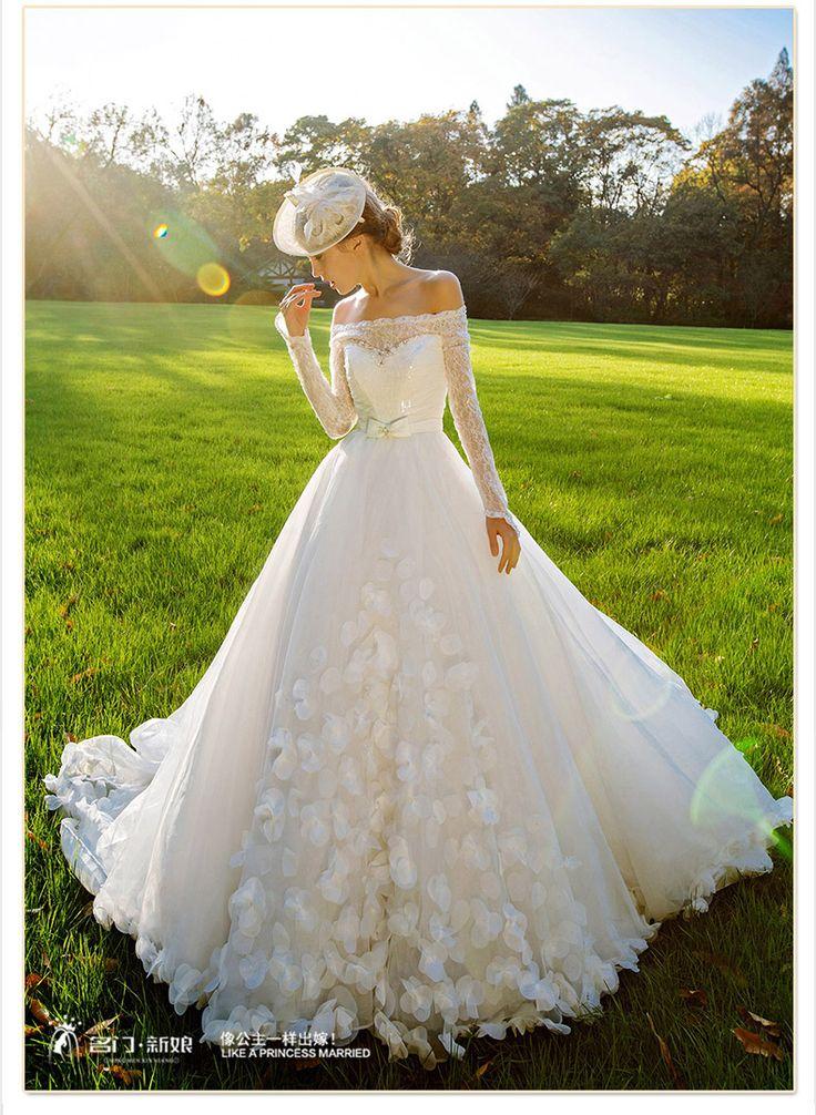 Благородный 2015 зимний сезон свадебное платье невесты длинный рукав одно плечо хвост Свадебное платье мечта лепестки 2512