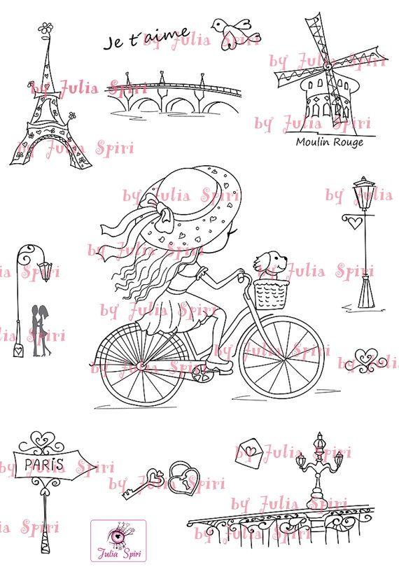 Digital Stamp  bonus elements for cut  Paris stamps by JuliaSpiri