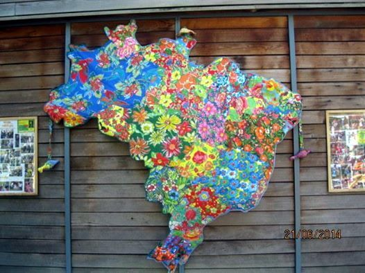 Mapa Painel (2 m X2 m) Patch work em chita By Mara Morelli/SP- Local: Londres