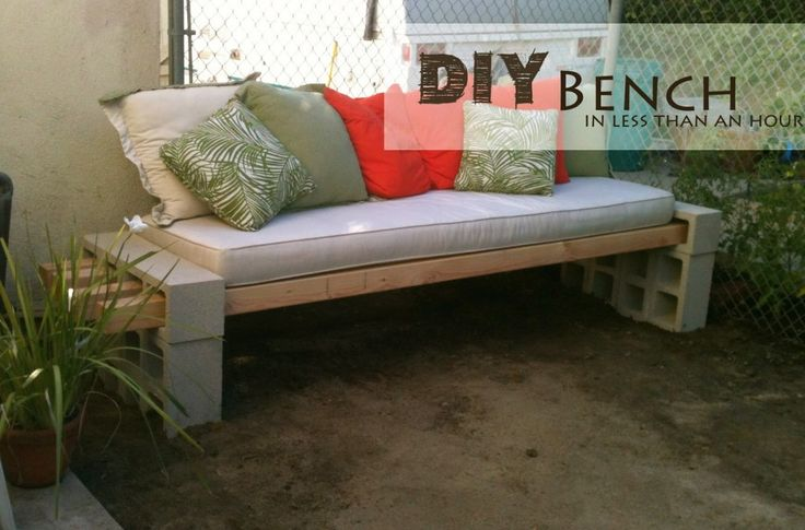 Concrete Block Outdoor Bench. Perfect ad hoc table for our summer party.