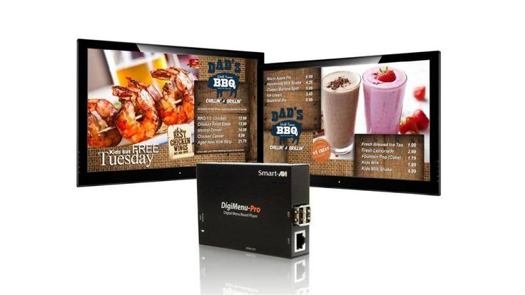 Menu digital para restaurantes. Pantallas publicitarias