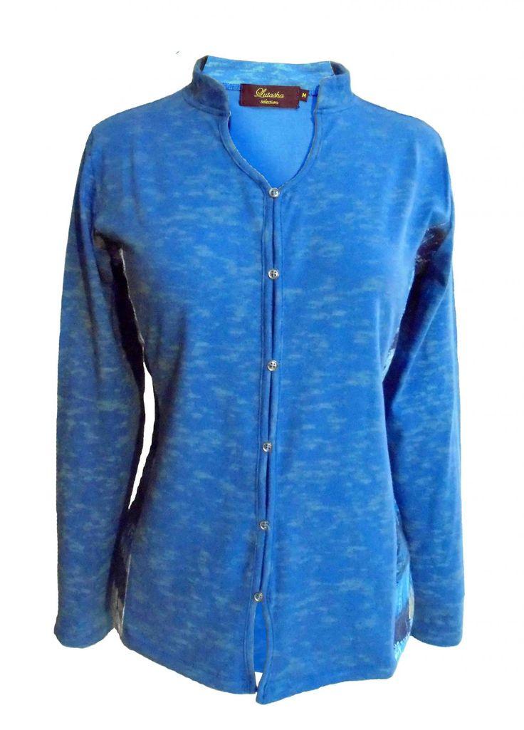 CAMISETA MUJER chaqueta simulada con coderas, estampado efecto lavado, color azul