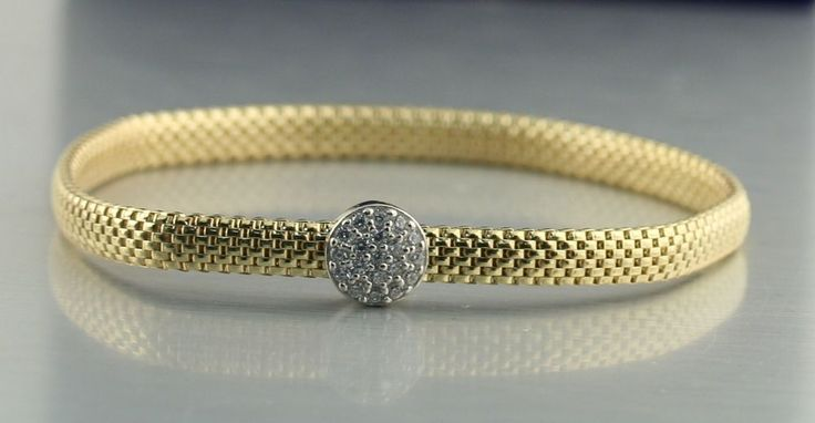 Sterling Silver Bangle Two Tone Yellow Gold PL Flexible CZ Bracelet Italy