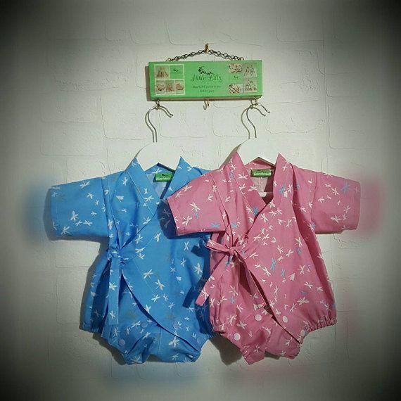 Baby kimono baby romper dragonfly 100% cotton handmade