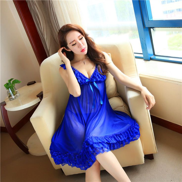 Fashion Sexy Lace Deep-V Satin Female Sleepwear Chemise Women's Nightwears Night Dress Sleeveless Nightgown For Women