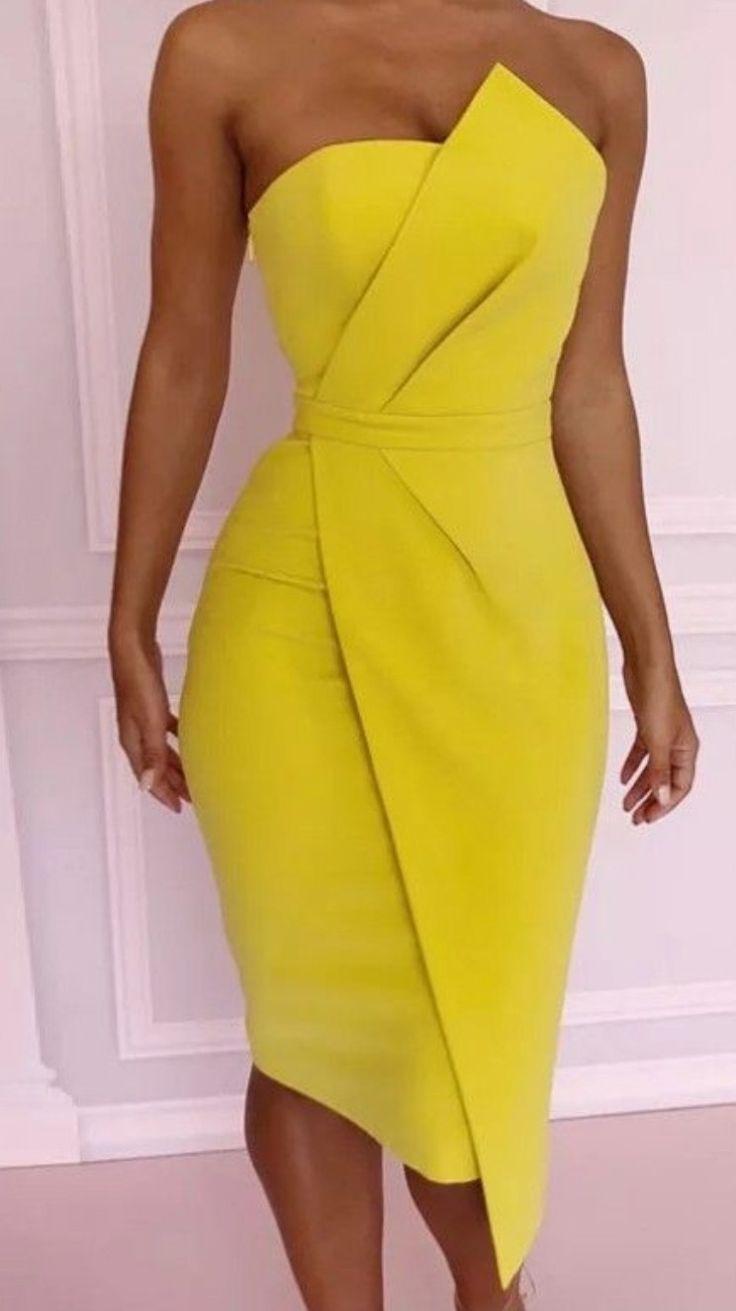 Asymmetrisches gelbes Kleid asymmetrisch gelb Kleid #asymmetrisch
