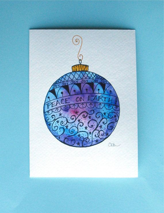 Watercolor card No.228 Christmas card by ArtworksEclectic on Etsy                                                                                                                                                                                 More                                                                                                                                                                                 More