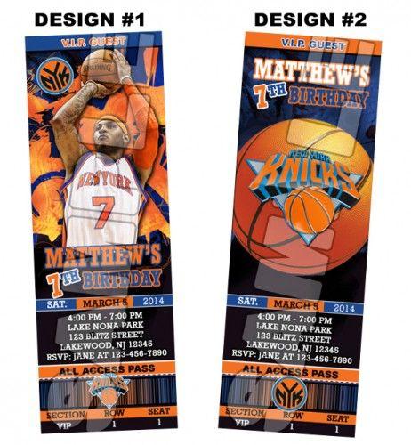 New York Knicks Ticket Birthday party invitations - Printable | BLiTzDesignz - Digital Art  on ArtFire