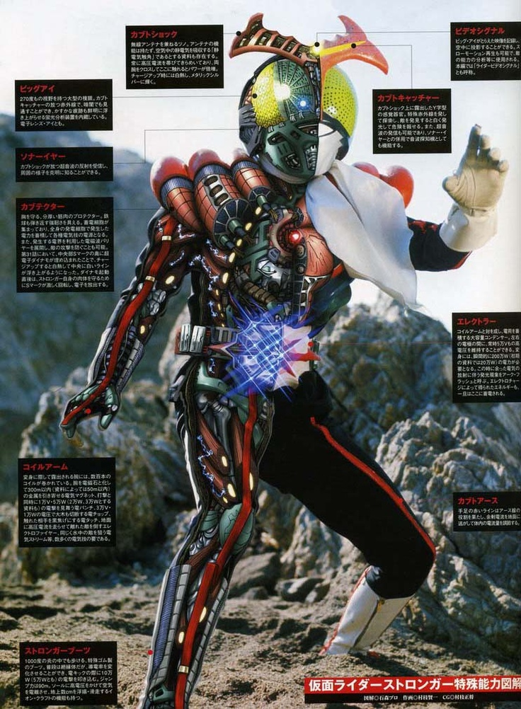 Kamen Rider Stronger + Internal anatomy. I've always found it interesting how the Kamen Rider Cross-Sections and X-Rays have them chock full of cyborg stuff.