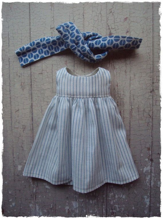 Frock dress Set for Blythe - White stripes by moshimoshi studio