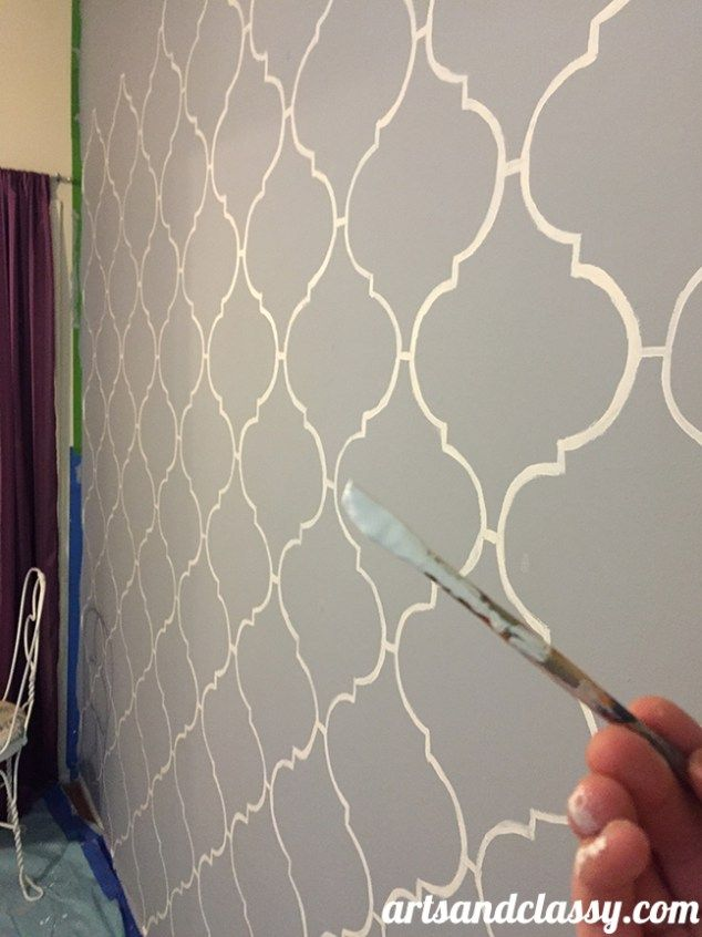 how to create and inexpensive and elegant moroccan stencil wall at wwwartsandclassycom - Bedroom Stencil Ideas