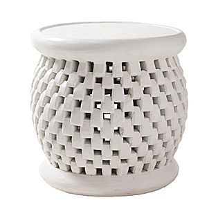 Bamileke Side Table - White | Serena & LilyDecor, Bamileke Side, Side Tables, Bamileke Stools, Lilies, Living Room, White, End Tables, Gardens Stools