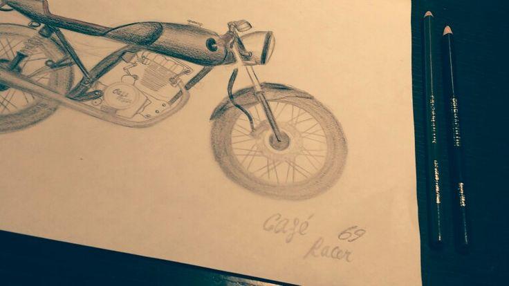 Cafe racer, prismacolor, vintage, motorcycle sketch